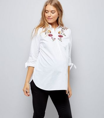 Maternity White Floral Embroidered Shirt
