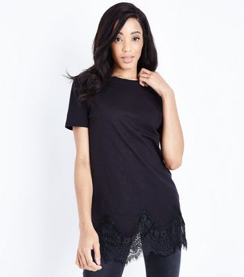 Tall Black Lace Hem Oversized T-Shirt