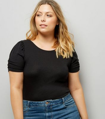 Curve Black Puff Sleeve T-Shirt