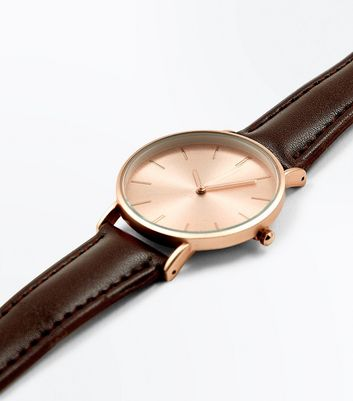 Brown Metallic Face Watch