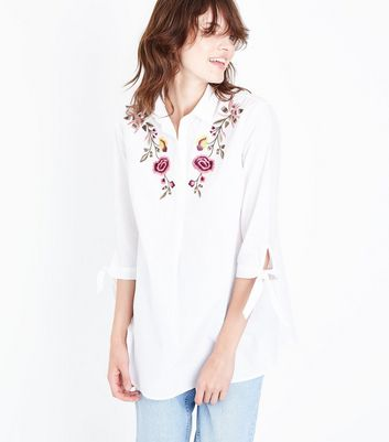 Tall White Floral Embroidered Shirt