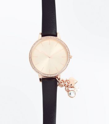 Black Interchangeable Charm Strap Watch