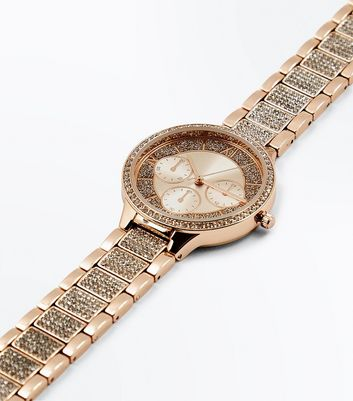 Rose Gold Diamante and Stone Embellished Sports Watch