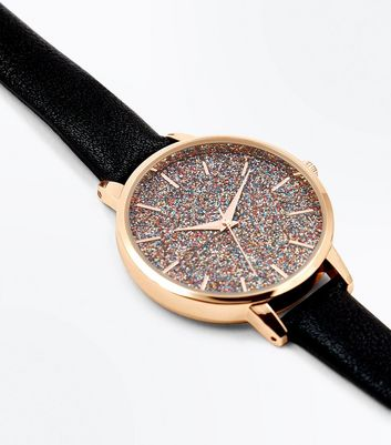 Black Glitter Face Watch