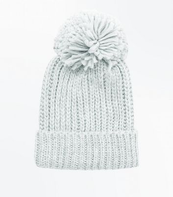 Pale Grey Rib Knit Bobble Hat