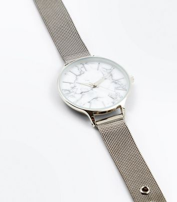 Silver Marble Dial Mesh Strap Watch