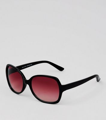 Black Pink Lense Oversized Sunglasses