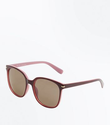 Burgundy Retro Sunglasses