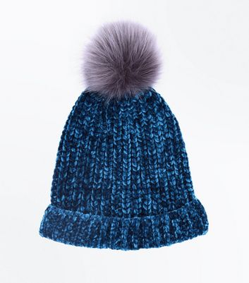 Teal Chenille Knit Faux Fur Pom Pom Hat