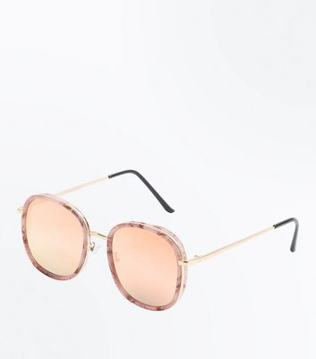 Pink Marbled Mirrored Lense Sunglasses