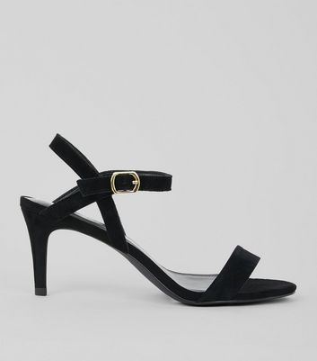 Black Suede Heeled Sandals