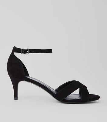 Black Suedette Cross Strap Kitten Heels