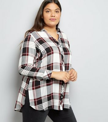 Curves White Check Shirt