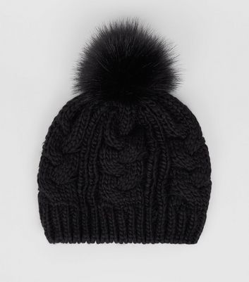 Black Cable Knit Faux Fur Pom Pom Beret Hat
