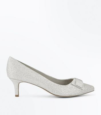 Wide Fit Silver Comfort Glitter Kitten Heels | New Look