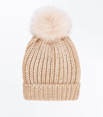 Rose Gold Metallic Faux Fur Pom Pom Hat