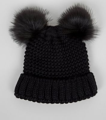 Black Double Faux Fur Pom Pom Hat