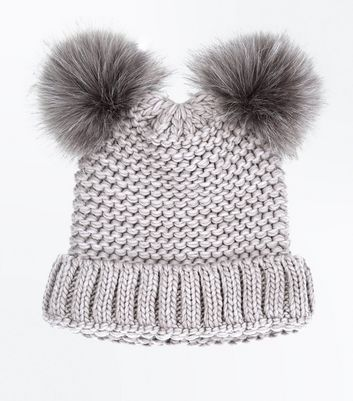 Mink Double Faux Fur Pom Pom Hat