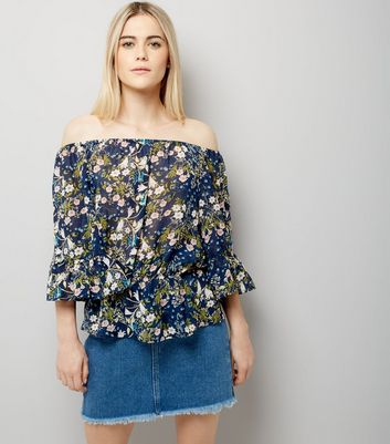 Blue Vanilla Navy Floral Print Bardot Neck Top
