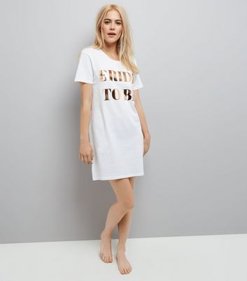 White Oversized Bride To Be Night Dress