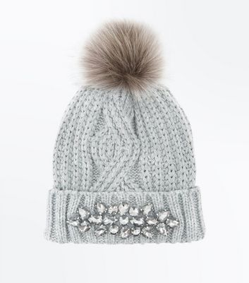 Grey Embellished Cable Knit Bobble Hat
