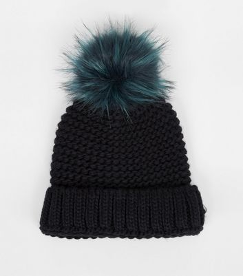 Blue Faux Fur Pom Pom Knitted Hat