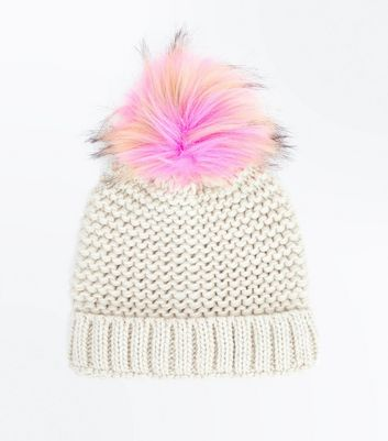 PInk Faux Fur Pom Pom Knitted Hat