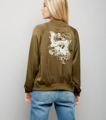 Blue Vanilla Khaki Embroidered Back Satin Bomber Jacket