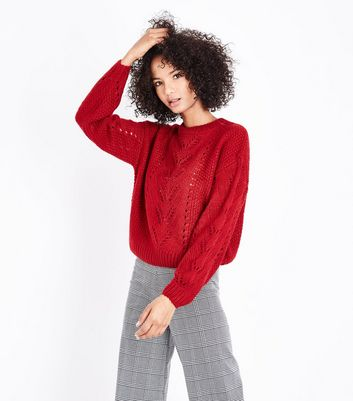 Red Pointelle Knit Balloon Sleeve Jumper