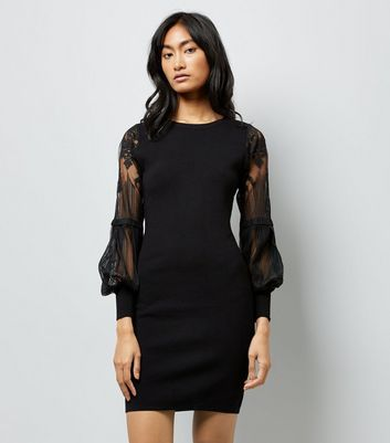 Black Lace Balloon Sleeve Dress