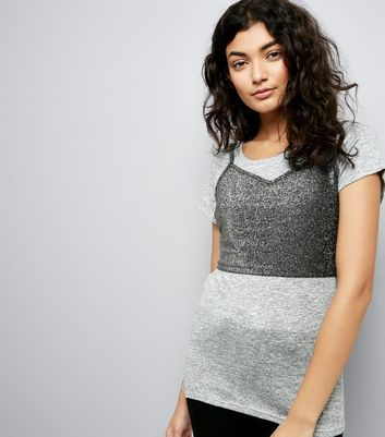 Grey Sparkle Bralet 2 in 1 T-Shirt
