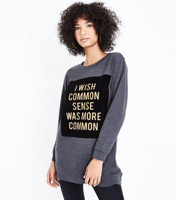 JDY Grey Common Sense Slogan Sweatshirt