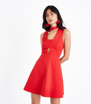 Red Choker Neck Cut Out Front Skater Dress