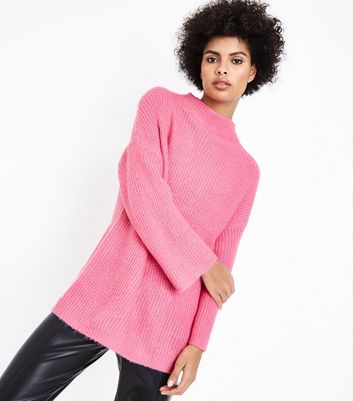 JDY Pink High Neck Ribbed Jumper