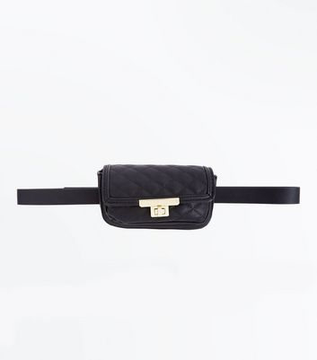 Black Quilt Push Lock Purse Belt