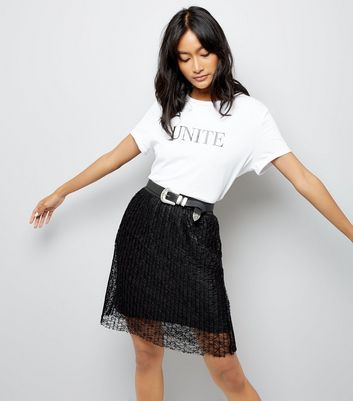 JDY Black Pleated Lace Skirt