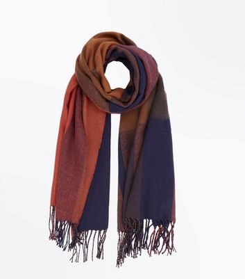 Orange Check Tassel Scarf