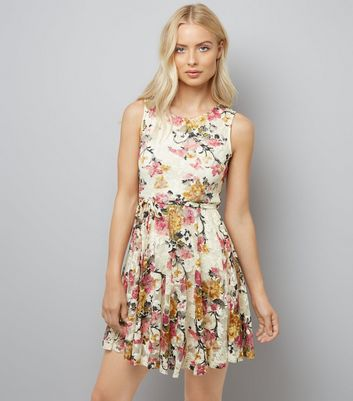 Mela Cream Floral Print Lace Dress