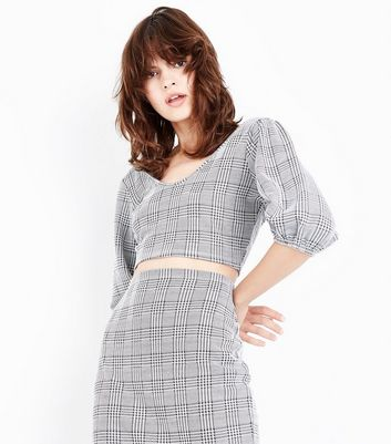 Black Check Puffed Sleeve Crop Top