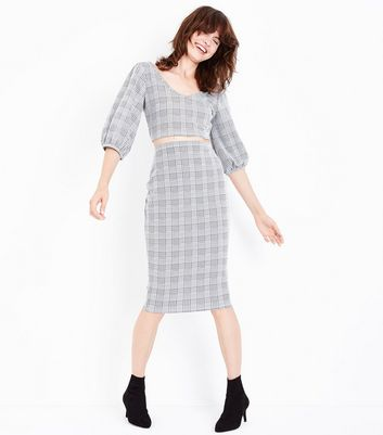 Grey Check Midi Skirt