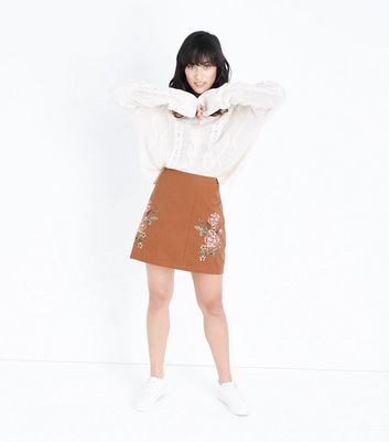 Tan Floral Embroidered Mini Skirt