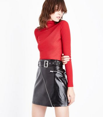 Red Ribbed Funnel Neck Top