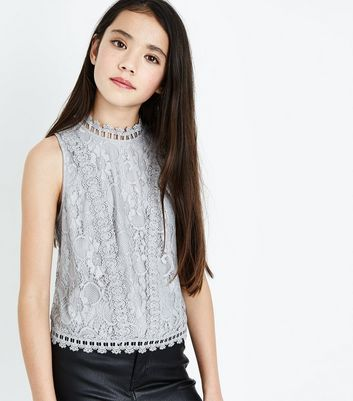 Teens Grey Lace High Neck Sleeveless Top