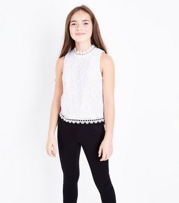 Girls Cream Lace High Neck Sleeveless Top