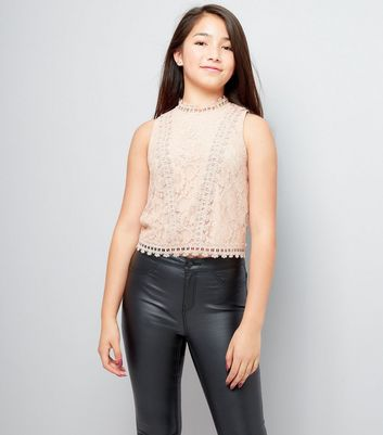 Teens Pink Lace High Neck Sleeveless Top