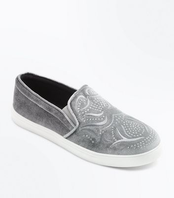 Teens Grey Studded Velvet Slip On Trainers
