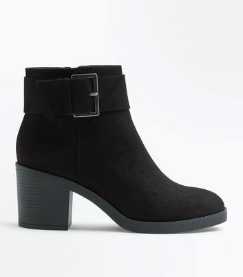 Teens Black Suedette Buckle Boots