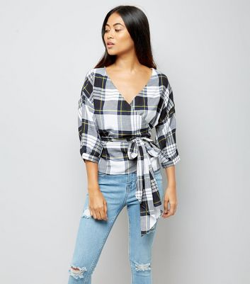 Petite Black Check Wrap Front Top