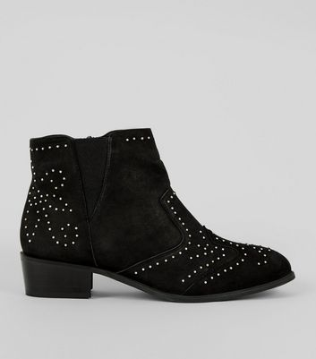 Wide Fit Black Leather Stud Ankle Boots