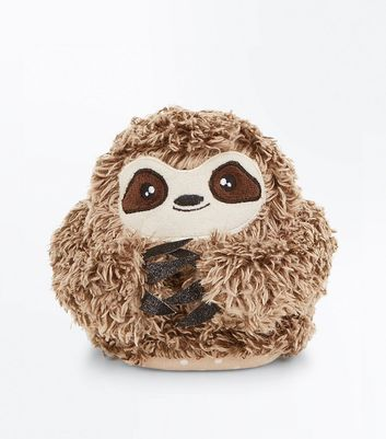 Brown Fluffy Sloth Slippers